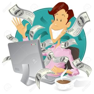10635118-Happy-businessman-making-money-on-the-internet-Stock-Vector-laptop-computer-internet
